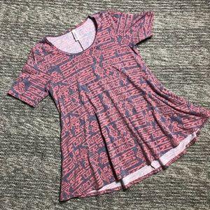 LuLaRoe Perfect T Medium Gray & Pink T Shirt